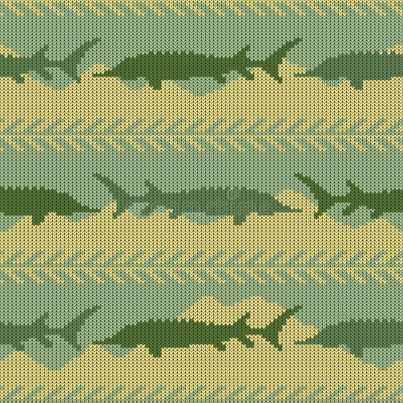 冬天被编织的羊毛无缝的样式用鲟鱼 黄沙和绿色水 库存例证