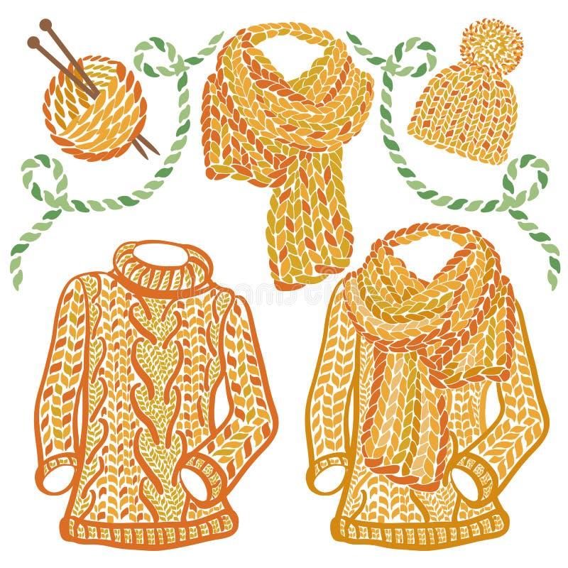 冬天被编织的辅助部件和穿戴-高领衫羊毛毛线衣、缆绳帽子和大块的围巾 库存例证