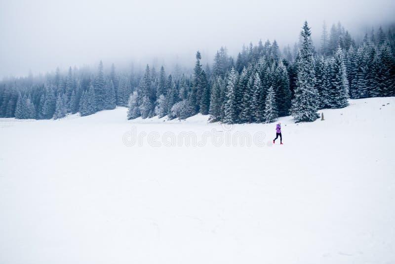 冬天连续妇女、跑步的启发和刺激 库存照片