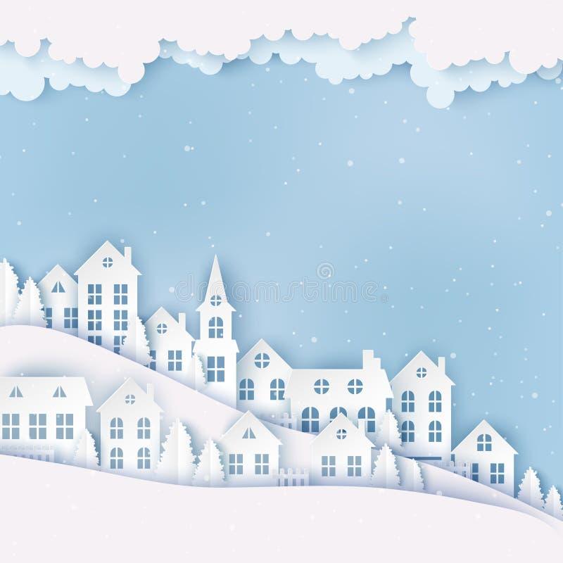 冬天都市乡下风景,有逗人喜爱的纸房子的村庄 向量例证