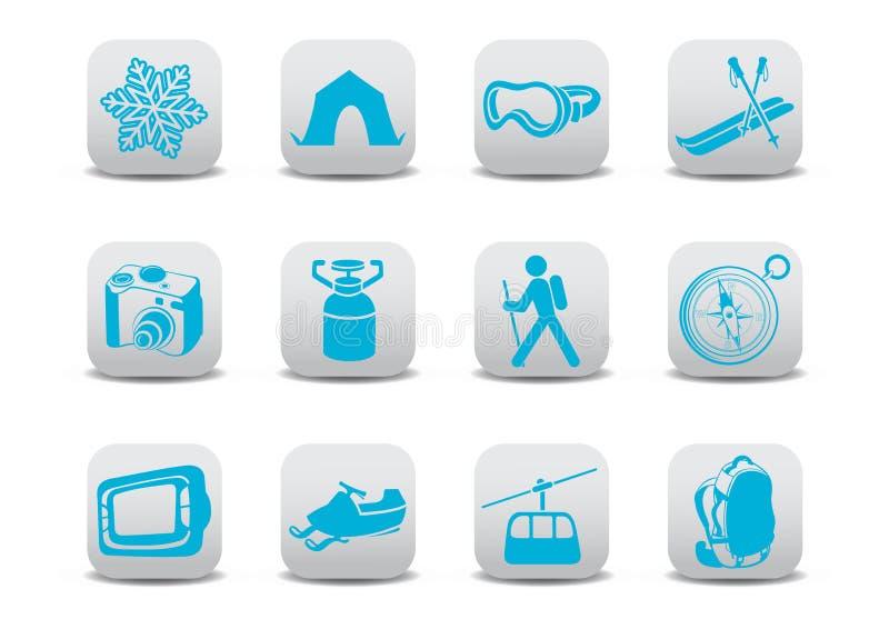 冬天野营或滑雪图标 向量例证