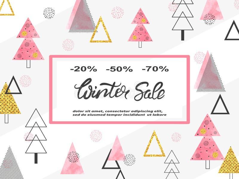 冬天销售与圣诞树的海报设计 向量例证