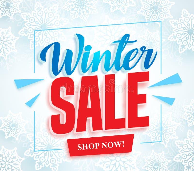 冬天销售与3d红色销售文本的传染媒介横幅和框架在白色雪背景中 皇族释放例证