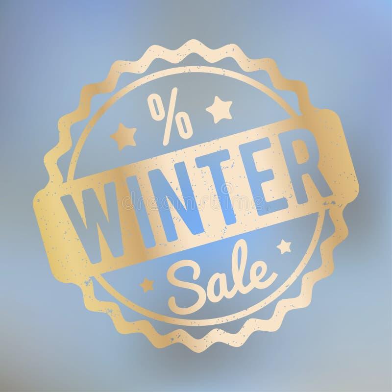 冬天销售在lila bokeh背景的不加考虑表赞同的人金子 皇族释放例证