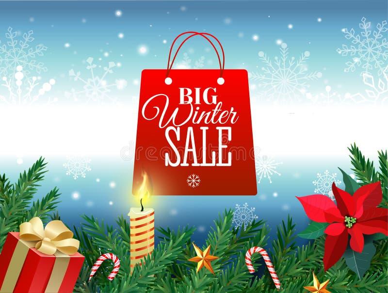 冬天销售标记传染媒介横幅 垂悬在季节性零售促进的白色冬天雪剥落背景中的红色销售标记 向量例证