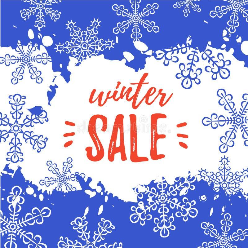 冬天销售横幅 与雪花的传染媒介背景,油漆 向量例证