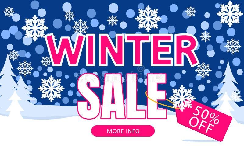 冬天销售横幅 新年假日折扣和销售的增进促进横幅 也corel凹道例证向量 向量例证