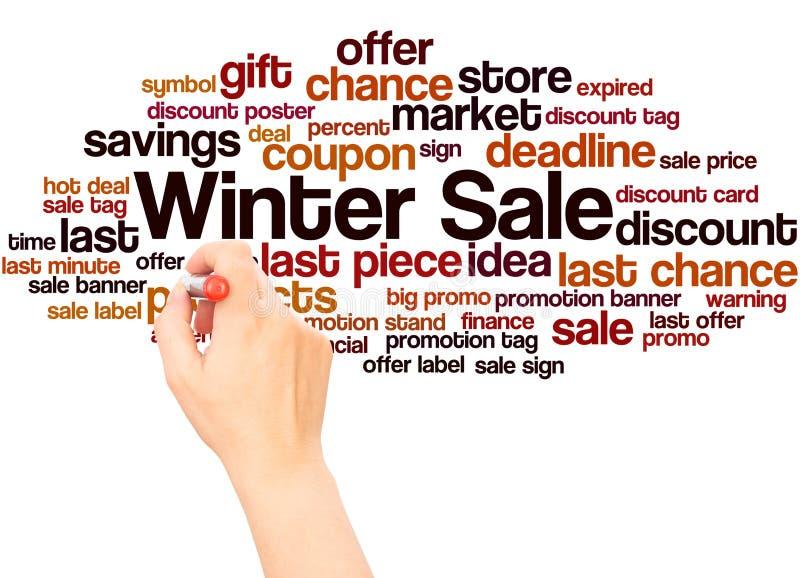 冬天销售词写概念的云彩手 库存图片