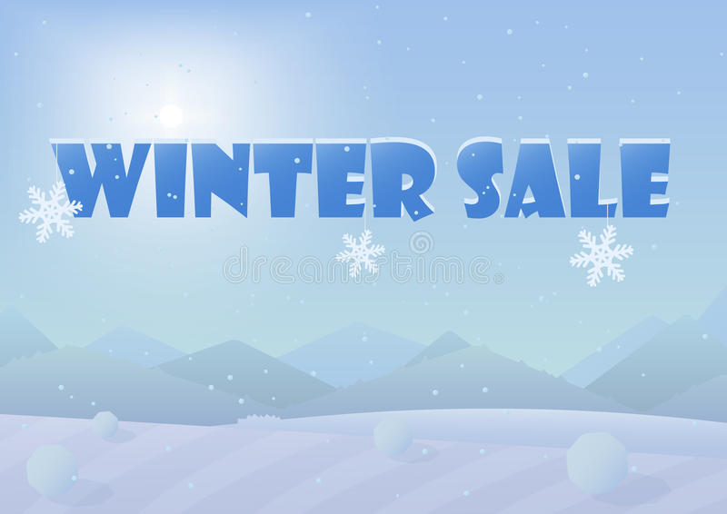 冬天销售词在美好的Chrismas冬天使背景环境美化 皇族释放例证