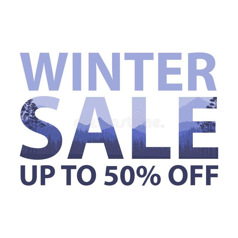 冬天销售词在美好的Chrismas平的寒假使与树,雪花,落的雪的背景环境美化 双 向量例证