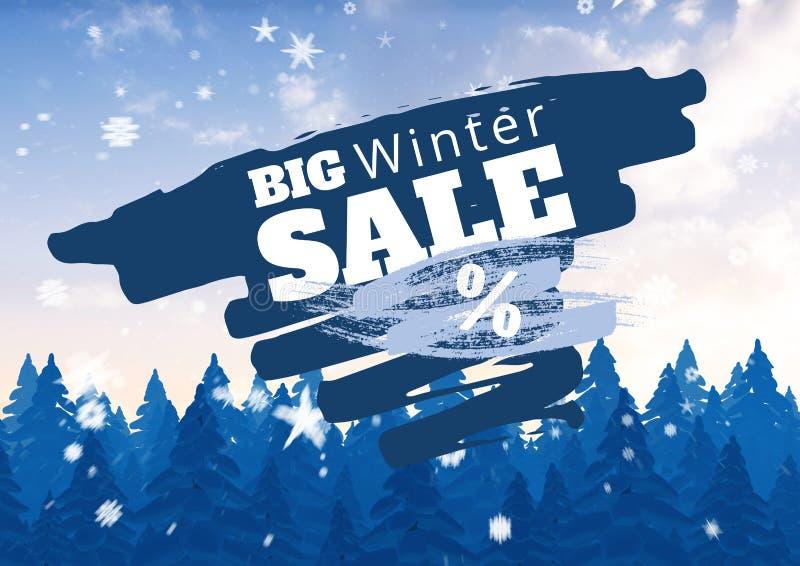 冬天销售说明与冷杉和雪花在蓝色和白色 向量例证