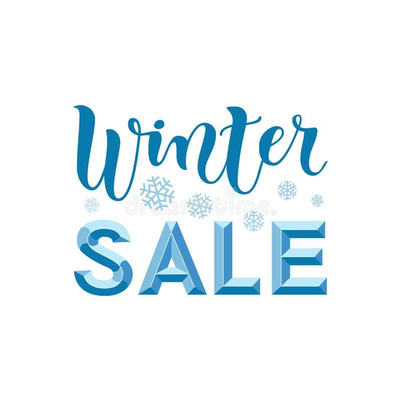 冬天销售3d现代书法字法在蓝色的在与雪花的白色背景 向量例证