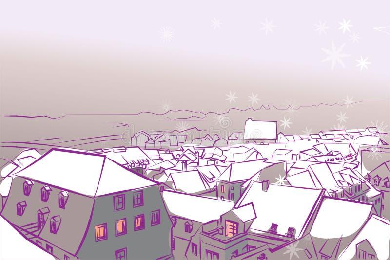 冬天镇阻止的雪传染媒介背景紫罗兰 向量例证