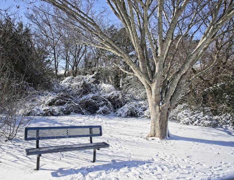 冬天长凳 免版税库存图片