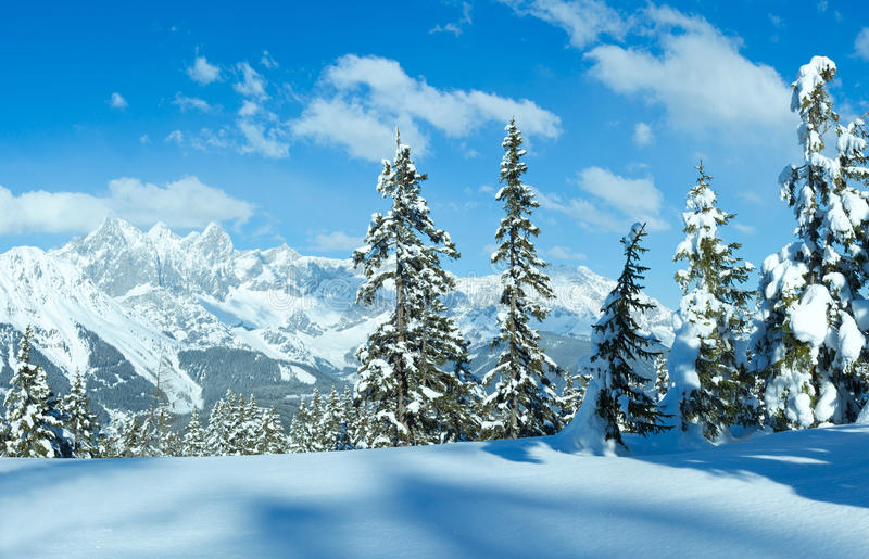 冬天阿尔卑斯山风景 库存照片