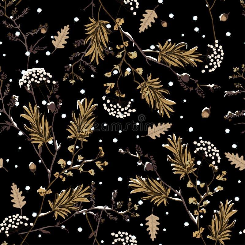 冬天雪在下跌在庭院花精美软和美好的心情无缝的样式传染媒介,时尚的设计的夜 向量例证