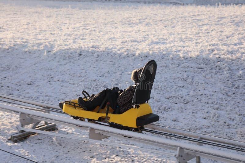 冬天雪撬轨道在冬天 免版税库存照片