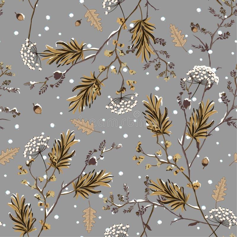 冬天雪无缝的样式传染媒介在庭院花精美软和美好的心情设计的时尚的,织品,墙纸, 库存例证