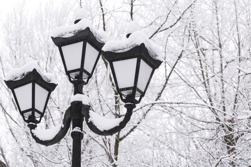 冬天雪都市风景 在减速火箭的样式的葡萄酒灯笼在多雪的树背景在多云天气的 图库摄影