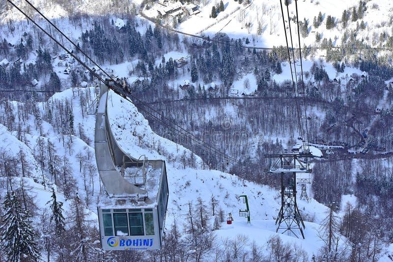 冬天雪风景福格尔电车 免版税库存图片