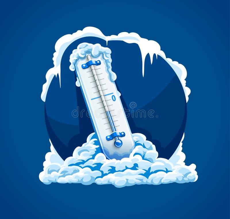 冬天霜冷天 有低落的温度计 向量例证