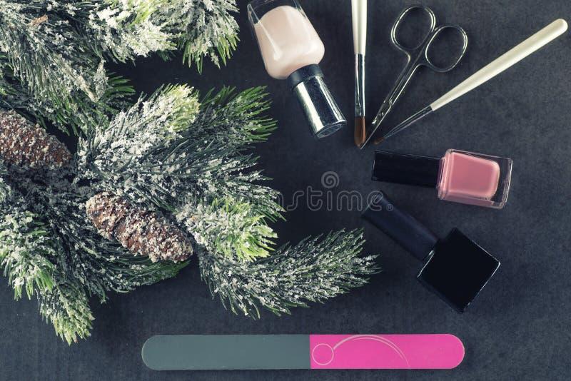 冬天题材钉子设计并且修剪,为修指甲的仪器与针 免版税图库摄影