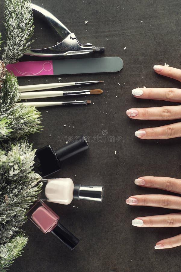 冬天题材钉子设计并且修剪,为修指甲的仪器与针 免版税库存照片