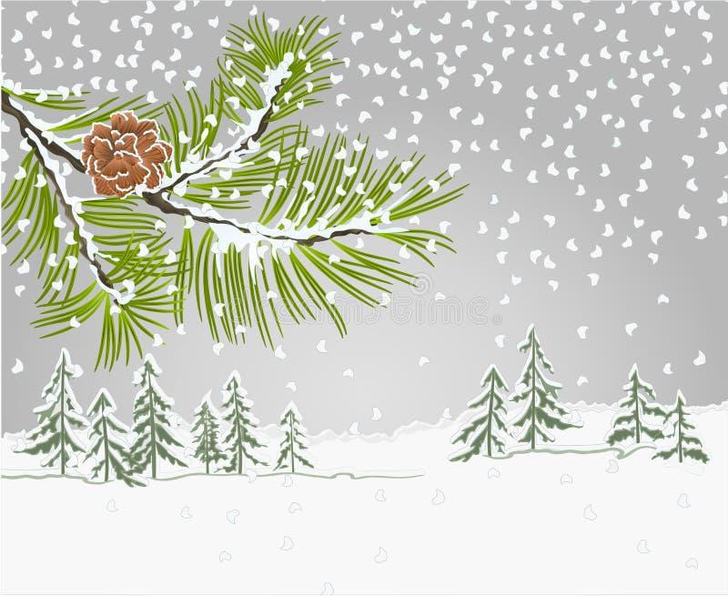 冬天风景与雪和杉木锥体圣诞节题材自然本底葡萄酒的杉木分支导航编辑可能的例证 库存例证