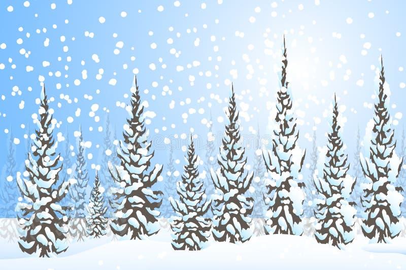 冬天风景传染媒介 库存例证