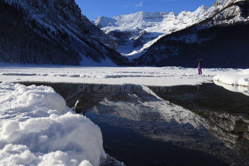 冬天风景在加拿大,路易丝湖 免版税图库摄影