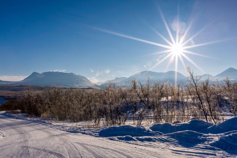 冬天风景在拉普兰,阿比斯库国家公园国立公园,瑞典 库存图片