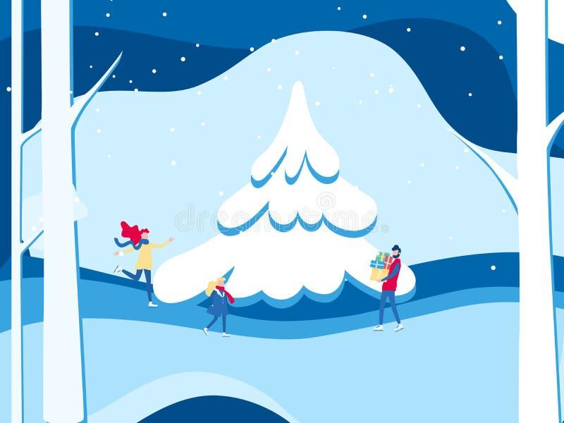 冬天风景多雪的街道和寒假 滑冰在冬天的幸福家庭 圣诞快乐和新年好 动画片 皇族释放例证