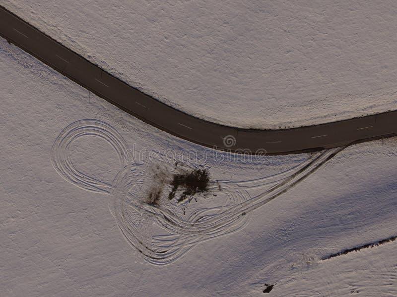 冬天风景天线 免版税库存图片
