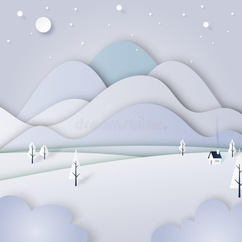 冬天风景有抽象纸裁减背景 库存例证
