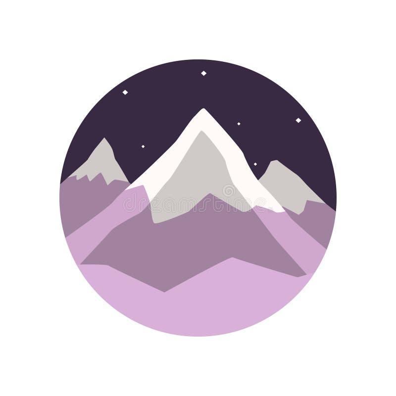 冬天风景的彩色插图与多雪的山峰和夜满天星斗的天空的 平的圆型象征 向量例证