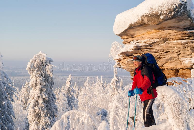 冬天风景的旅客 图库摄影