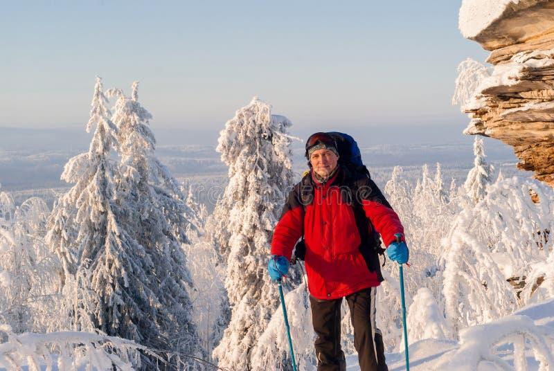 冬天风景的旅客 库存照片