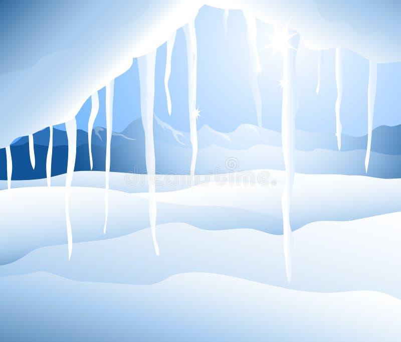 冬天风景(冰柱) - 向量例证