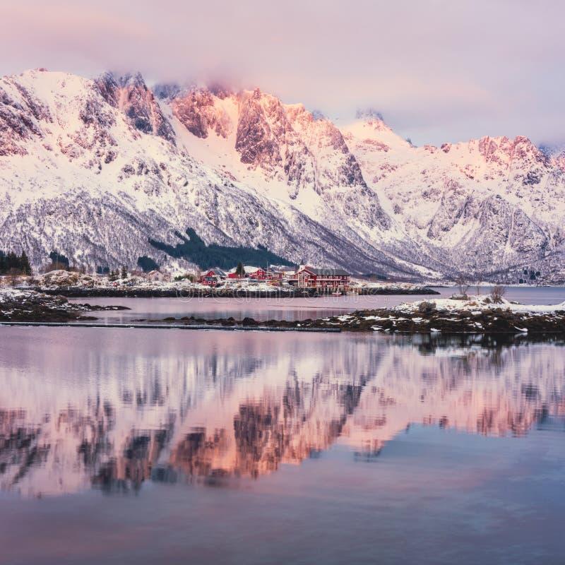 冬天风景-山,有反射的湖在日落的水,罗弗敦群岛海岛,挪威中 免版税图库摄影
