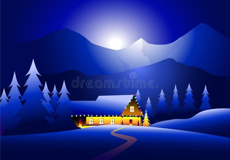 冬天风景&愉快的圣诞节 库存例证