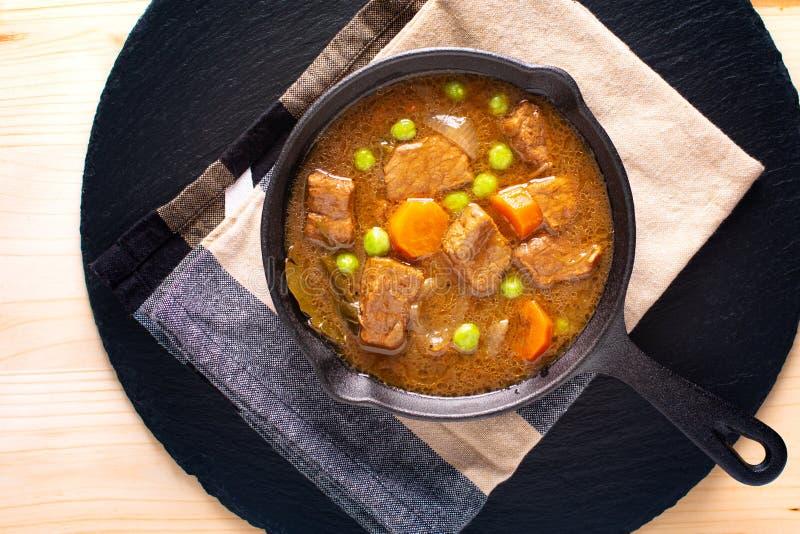 冬天食物概念自创有机炖煮的食物牛肉或村镇 库存图片