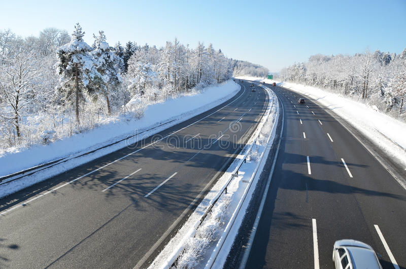 冬天高速公路 图库摄影