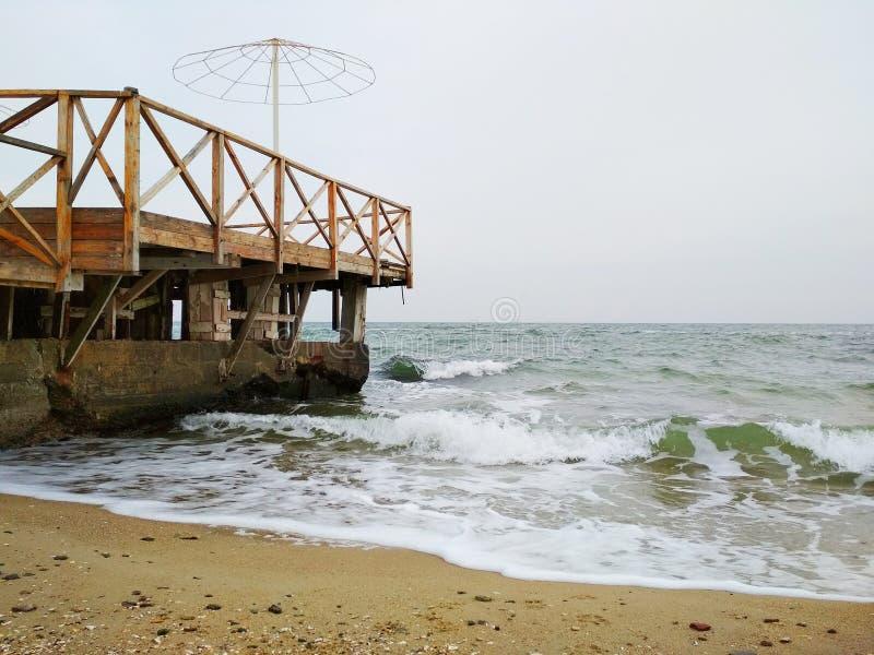 冬天黑海在傲德萨 库存图片