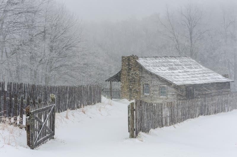 冬天,吉本斯农场,亨斯利解决 库存照片