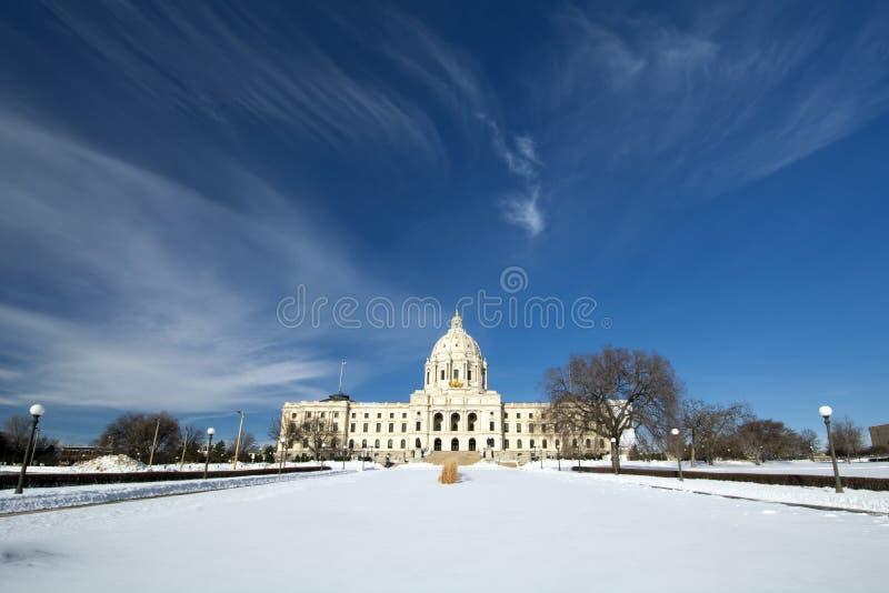冬天,国家资本大厦,圣保罗,明尼苏达,美国 免版税库存图片