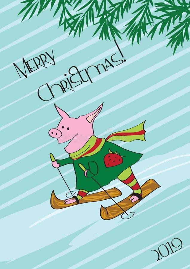 冬天,圣诞节,滑冰的猪 库存例证