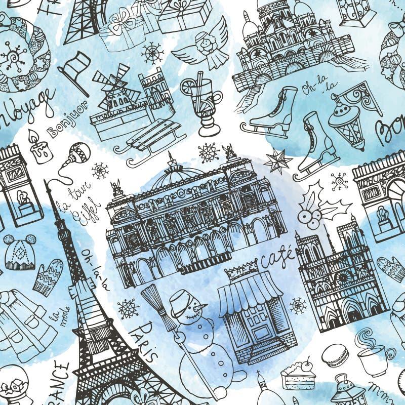 巴黎冬天,地标无缝的样式 水彩 向量例证