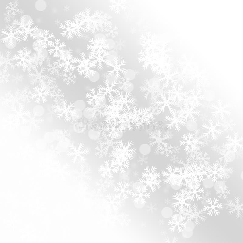 冬天令人愉快的降雪五颜六色典雅在抽象背景 库存例证