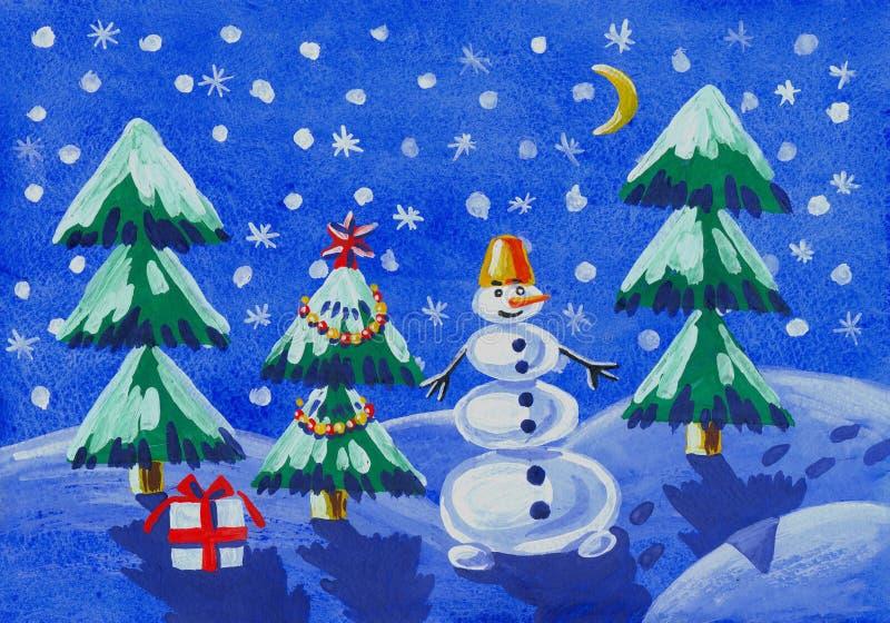 冬天-儿童的图画 库存例证