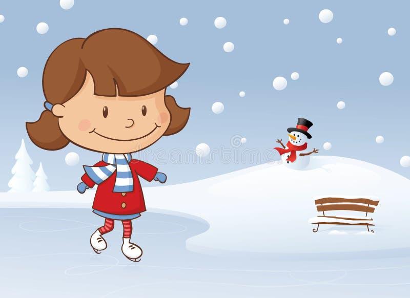 冬天滑冰的女孩 库存例证
